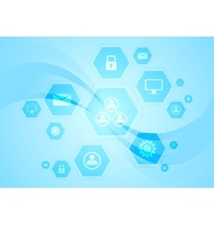 Blue hi-tech wavy background vector image vector image