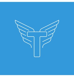 Letter t logo with wings in thin lines vector