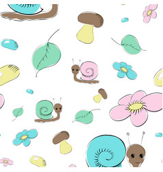 seamless pattern with snails mushrooms and flower vector image