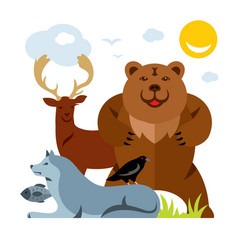 set of different wild animals flat style vector image vector image