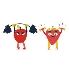 apple strawberry characters working out in gym vector image