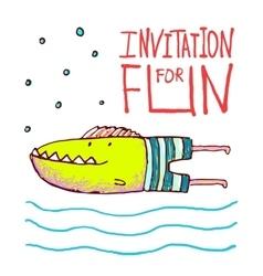 Cartoon Fun Monster Fish Invitation or Greeting vector image