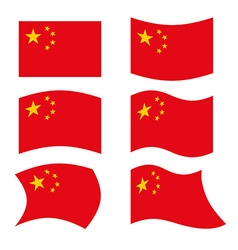 China Flag Set national flag of Chinese state Red vector image