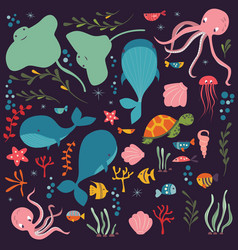 collection of colorful sea and ocean animals vector image