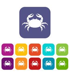 Raw crab icons set flat vector