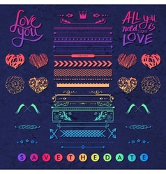 Set of frames hearts and borders design elements vector image vector image