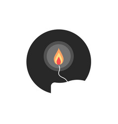 Simple candle flame in circle vector