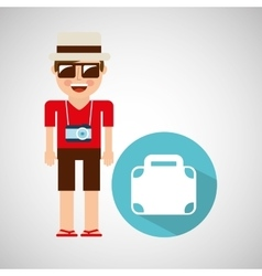 tourist man with camera and briefcase vector image vector image
