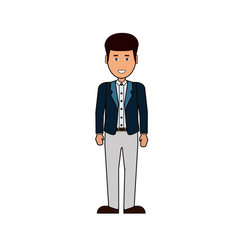 cartoon business man stand isolated on white vector image