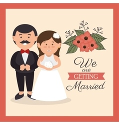 groom and bride cute weddign card design graphic vector image