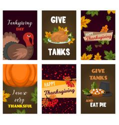 happy thanksgiving cards celebration banner design vector image