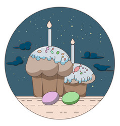 line style logo with gift and easter eggs vector image