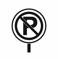 No parking sign icon simple style vector image vector image
