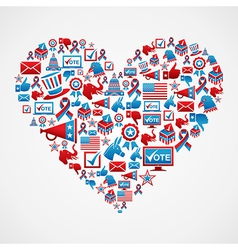 US elections icons heart shape vector image