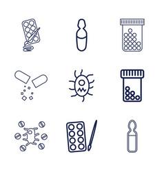9 antibiotic icons vector
