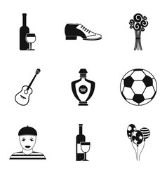 Alcohol insanity icons set simple style vector
