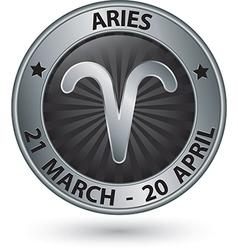 Aries zodiac silver sign symbol vector
