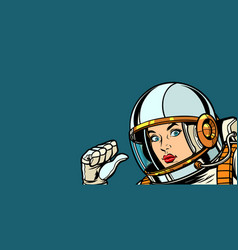 astronaut woman fist hand pointing at herself vector image