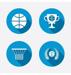 Basketball icons Ball with basket and cup symbols vector image