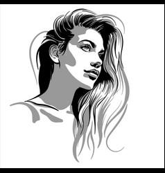 Beautiful girl portrait blonde pretty woman vector