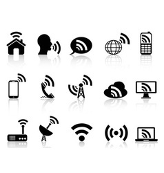 black network icons set vector image vector image
