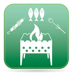 Brazier zephyr kebab and fish icon vector