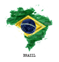 brazil flag watercolor painting design country vector image