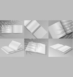 brochure mockup realistic white blank magazine vector image
