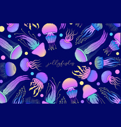 card with jellyfishes vector image