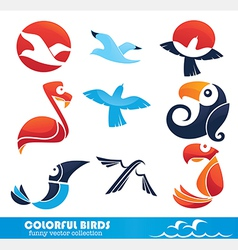 Cartoon birds collection vector