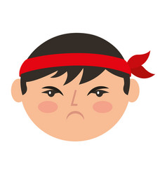 Cartoon face angry chinese man vector