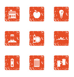 Charge energy icons set grunge style vector