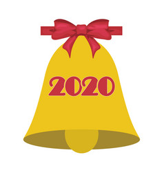 christmas or school bell symbol with bow 2020 vector image