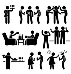 Cocktail party man friend gathering enjoying wine vector