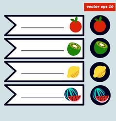 Colored fruit sticker set vector