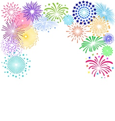 Colorful fireworks frame on white background vector image