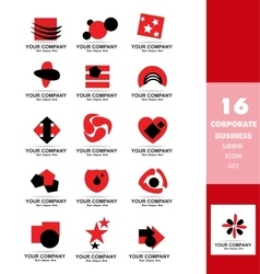 Corporate business red logo icon set vector