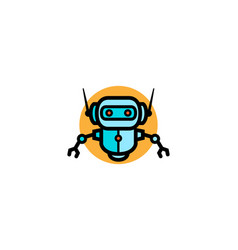 creative blue robot orange circle logo vector image