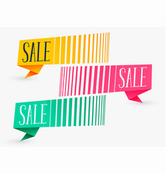 creative sale banners in three colors vector image