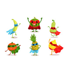 Cute animated fruits in superhero cloaks and vector