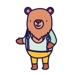 Cute bear with clothes cartoon character on white vector