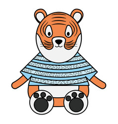 Cute tiger childish character vector
