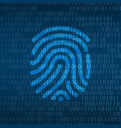 cyber technology security finger print id on vector image