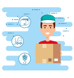 Delivery worker with set icons vector