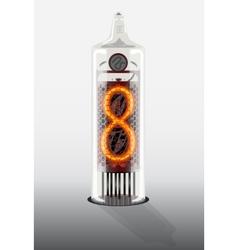 Digit 8 on vintage vacuum tube display vector
