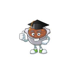 Dish baked beans with cartoon graduation hat vector
