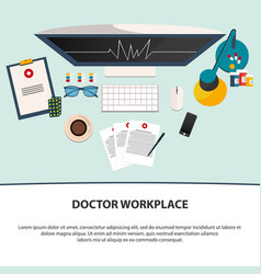 doctor workplace medicine icons set in flat vector image