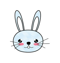 Doodle cute rabbit male head animal vector