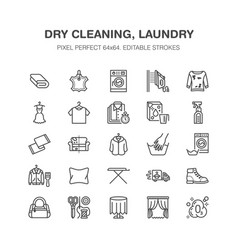 dry cleaning laundry flat line icons launderette vector image