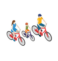 family cyclists riding on a bicycle flat 3d vector image